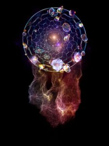 Dreamcatcher series. Composition of dream catcher symbol made of abstract elements with metaphorical relationship to art, craft, design and Spirit World
